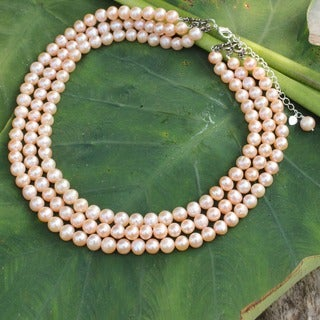 Sterling Silver 'Triple Halo' Pearl Necklace (8 mm) (Thailand)