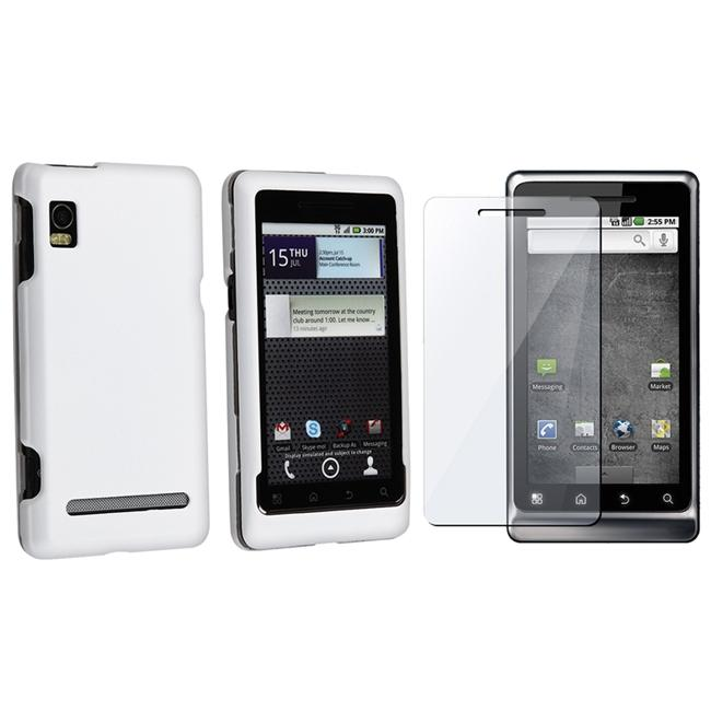 INSTEN White Rubber Phone Case Cover/ Screen Protector for Motorola Droid 2
