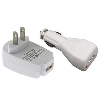 White USB Car and Travel Charger for Apple iPod Touch 4