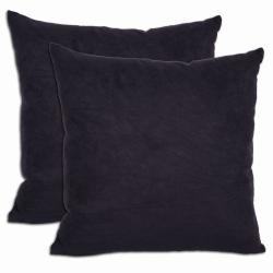Black Microsuede Feather and Down Filled Throw Pillows (Set of 2)