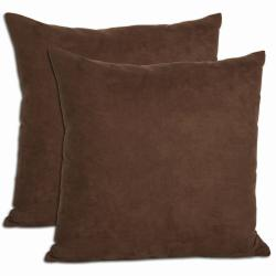 Chocolate Microsuede Feather and Down Filled Throw Pillows (Set of 2)