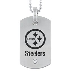 Stainless Steel Cubic Zirconia Pittsburgh Steelers Dog Tag