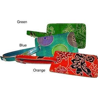 Set of 3 Handmade Leather Luggage Tags (India)