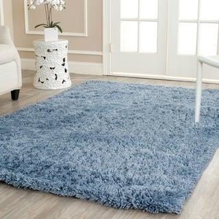 Safavieh Hand-woven Bliss Light Blue Shag Rug (5' x 8')