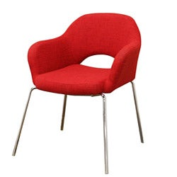 Mid-century Modern Red Twill Executive Arm Chair