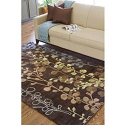 Hand-tufted Contemporary Lavish Brown Abstract Rug (2'6 x 8')