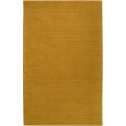 Hand-crafted Yellow Solid Casual Ridges Wool Rug (5' X 8')
