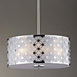 Chrome/ White Shade 3-light Pendant Chandelier