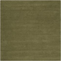 Hand-crafted Solid Green Casual Ridges Wool Rug (9'9 Square)