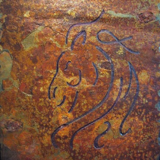 Stylized Abstract Equestrian Hand-carved Artisan Stone Tile