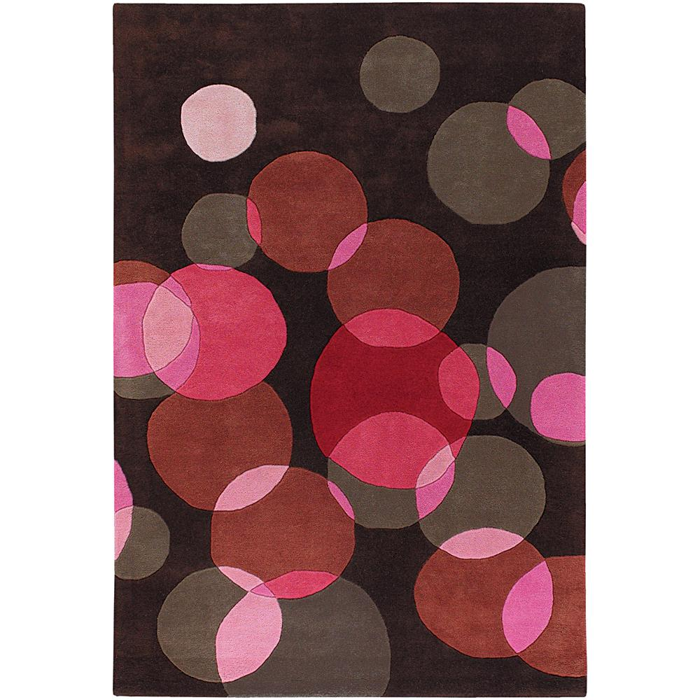 Avalisa Brown with Red Geometric Hand-tufted New Zealand Wool Rug (5' x 7'6)