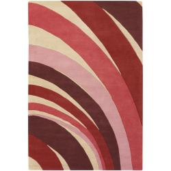 Counterfeit Studio Red Stripe Hand-tufted New Zealand Wool Rug (7'9 x 10'6)