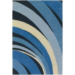 Counterfeit Studio Blue Stripe Hand-tufted New Zealand Wool Rug (5' x 7'6)
