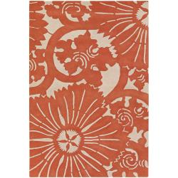 Counterfeit Studio Hand-tufted Orange Geometric New Zealand Wool Rug (7'9 x 10'6)