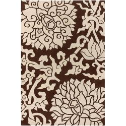 """Thomaspaul Brown Floral Hand-Tufted New Zealand Wool Area Rug (7'9"""" x 10'6"""")"""