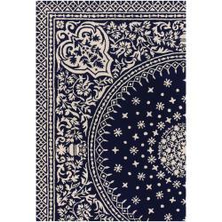 Thomaspaul Blue Oriental Hand-tufted New Zealand Wool Rug (5' x 7'6)