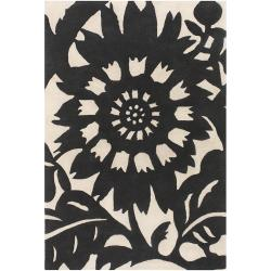 Thomaspaul Black Floral Hand-tufted New Zealand Wool Rug (5' x 7'6)