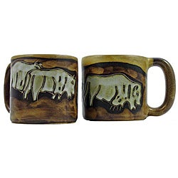 Set of 2 Mara Stoneware 16-oz Buffalo Mugs (Mexico)