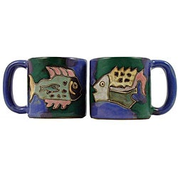 Set of 2 Mara Stoneware 16-oz Fish Mugs (Mexico)