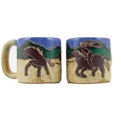 Set of 2 Mara Stoneware 16-oz Cowboy Mugs (Mexico)