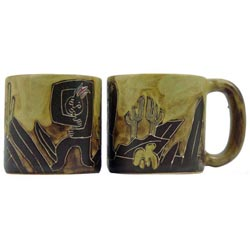 Set of 2 Mara Stoneware 16-oz Kokopelli Mugs (Mexico)