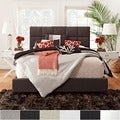 TRIBECCA HOME Sarajevo Dark Brown Bonded Leather Column King-sized Upholstered Bed
