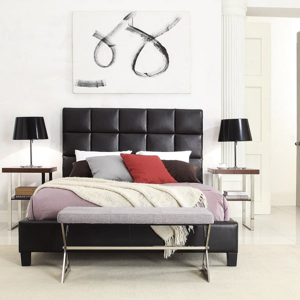 TRIBECCA HOME Sarajevo Dark Brown Bonded Leather Column Queen-sized Upholstered Bed