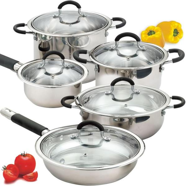 Cook N Home 10-pc Stainless Steel Encapsulated Bottom Cookware Set