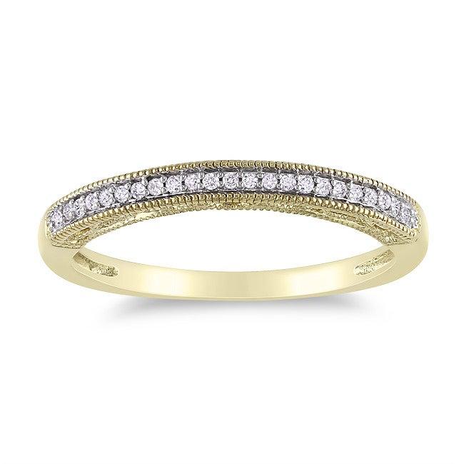 Miadora 14k Yellow Gold Diamond Accent Wedding Band