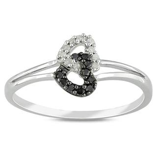 Haylee Jewels Sterling Silver 1/10ct TDW Black and White Diamond Ring (G-H, I3)