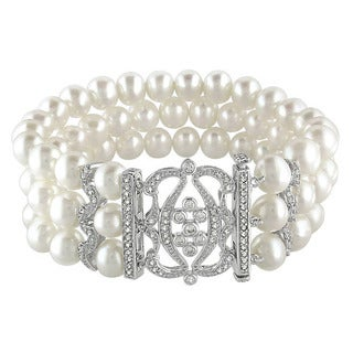 Miadora Sterling Silver Freshwater Pearl and Cubic Zirconia Bracelet (6.5-7 mm)