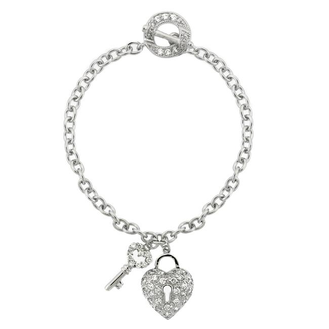 Icz Stonez Sterling Silver Cubic Zirconia Heart and Key Toggle Bracelet
