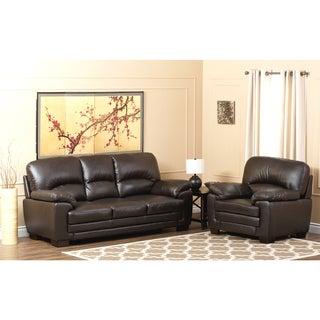 ABBYSON LIVING Charleston Premium Top-grain Leather Sofa and Armchair