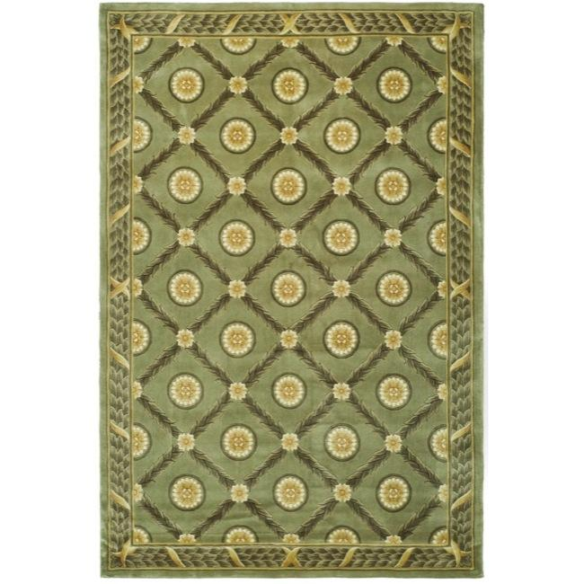 Asian Hand-knotted Trellis Green Wool Rug (6' x 9')