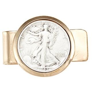 American Coin Treasures Walking Liberty Silver Half Dollar Goldtone Moneyclip