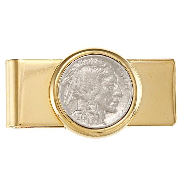 American Coin Treasures Buffalo Nickel Goldtone Moneyclip