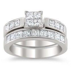 14k White Gold 2ct TDW Certified Multi Stone Princess Cut Diamond Bridal Set (G-H, I1)