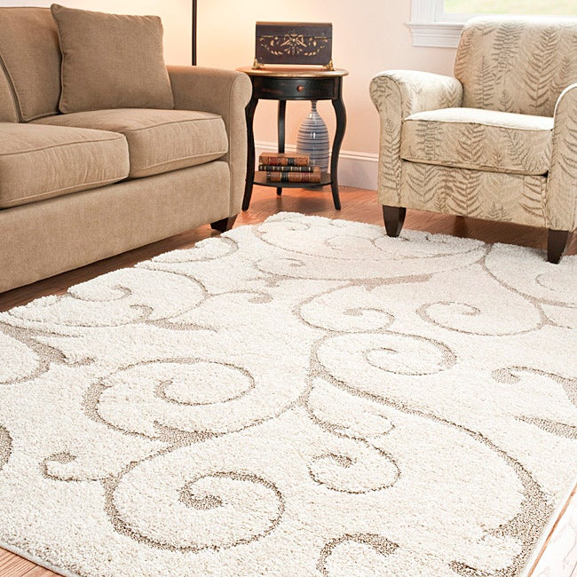 Safavieh Ultimate Cream/Beige Power-Loomed Shag Rug (8' x 10')