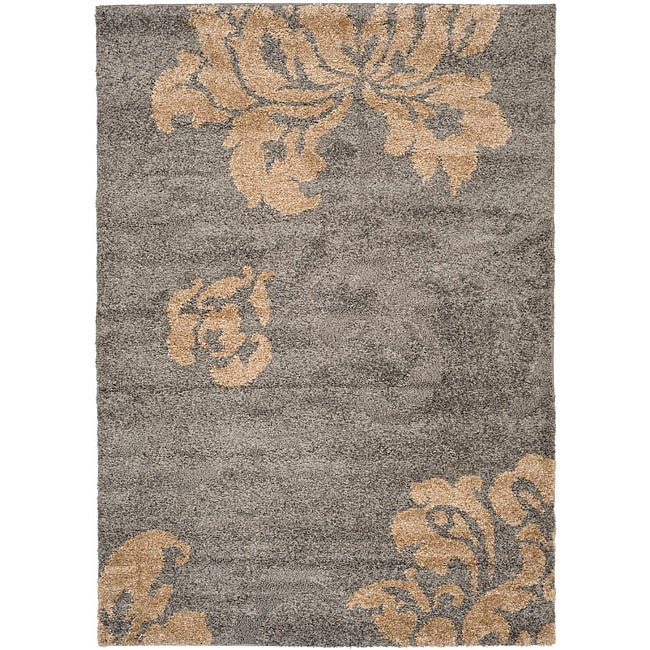 Safavieh Ultimate Dark Grey Beige Floral Shag Rug 8 X 10