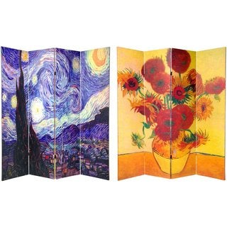 Wood and Canvas 6-foot Double-sided Van Gogh Room Divider (China)