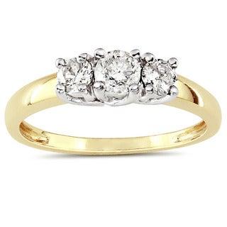 Miadora 10k Two-tone Gold 1/2ct TDW Diamond 3-stone Ring (G-H, I2-I3)