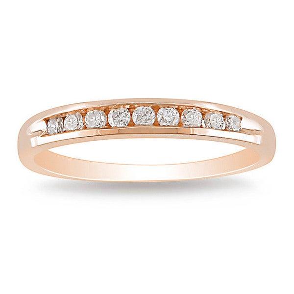 Miadora 10k Rose Gold 1/4ct TDW Diamond Wedding Band (G-H, I2-I3)