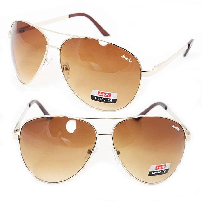 Goldtone Metal Frame Unisex Aviator Sunglasses