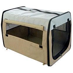 Folding Zippered Large Khaki Pet Dog Crate Carrier