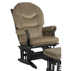 Dutailier Ultramotion Espresso Wood Glider with Light Brown Upholstery