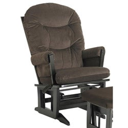 Dutailier Ultramotion Espresso Wood Glider with Brown Cushions