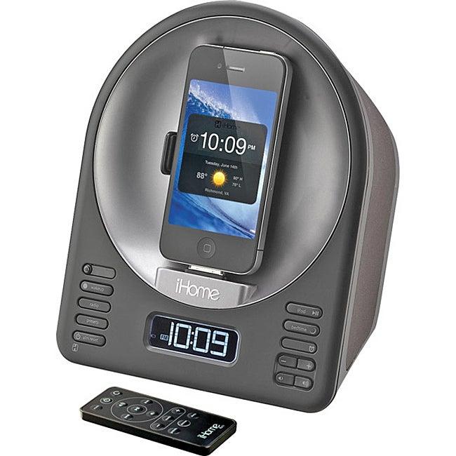 iHome iA63 App-Enhanced Alarm Clock with FM Radio and Motorized Rotating iPod/iPhone Dock