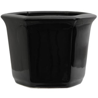 Porcelain 10-inch Solid Black Flower Pot (China)