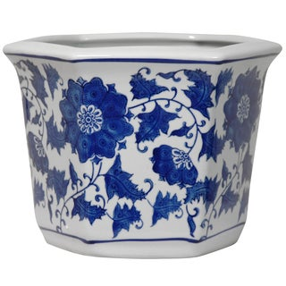 Porcelain Blue and White Flower Pot (China)