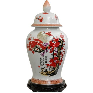 Porcelain 18-inch Cherry Blossom Temple Jar (China)
